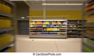 HD - Timelapse in the supermarket. Food shelves