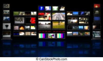 hd, -, tv, studio., bg, met, reflectie