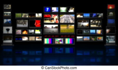 HD - TV studio. Blurred background with reflection