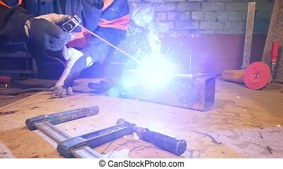 HD - Workshop. Arc welding in slow-mo