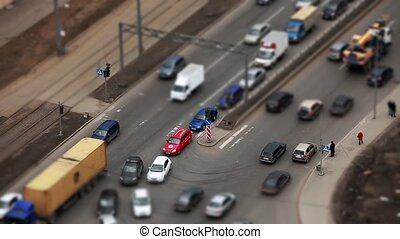 crossroads - HD1080: Aerial view of a crossroads tilt shift...