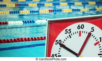HD1080: Sports Stopwatch in the Swimming pool close to. Tripod.
