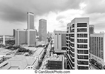 hdb, contornos, cielo nublado, céntrico, vista aérea, singapur, imagen, edificio, filtrado, complejo