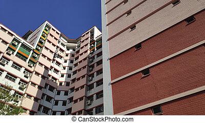 hdb, singapur, residencial, vista, fachada, edificio