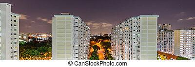 hdb, vista panorámica, tarde, vecindad, complejo, cima, singapur, eunos