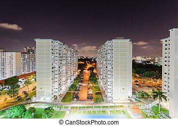 hdb, vista, tarde, vecindad, complejo, cima, singapur, eunos