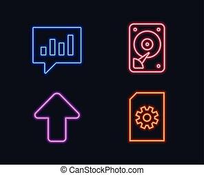 hdd, analitico, chiacchierata, e, upload, icons., file, amministrazione, segno.