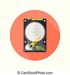 Hdd disk flat design isolated vector round icon