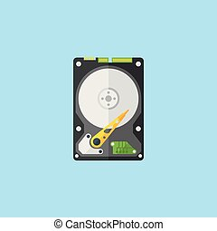 Hdd disk flat design style vector illustration