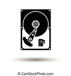 HDD icon. Black background with white. Vector illustration.