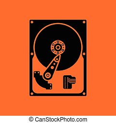 HDD icon. Orange background with black. Vector illustration.