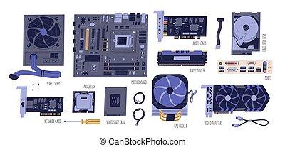 hdd, ilustração, cobrança, computador, vídeo, poder, laptop, áudio, processador, parts:, ram, isolado, ssd, vetorial, rede, white., apartamento, pc, cartão, fornecer, motherboard, adaptador, components., cpu