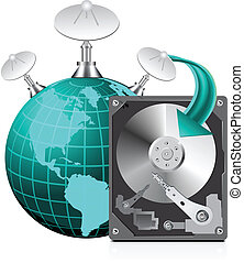 HDD with globe icon
