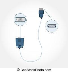 HDMI and VGA cable - Cable with HDMI and VGA adapter at each...