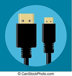 HDMI connectors vector icon - Flat design HDMI and mini HDMI...