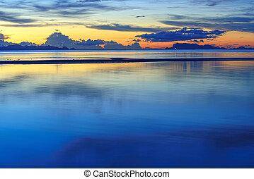hdr, θαλασσογραφία , τροπικός , πανοραματικός , ηλιοβασίλεμα , φόντο