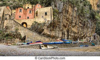 hdr, amalfi 海岸, 漁村, furore
