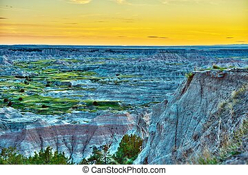 HDR Badlands Sunset Photography. Badlands Wilderness in HDR. Nature Photo Collection. U.S. National Parks.