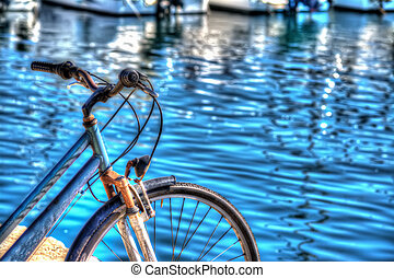 hdr bicycle by the sea in Alghero