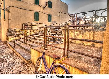 hdr bikes in Alghero old town