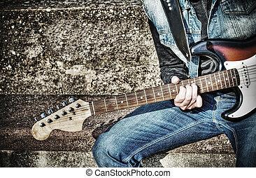 hdr, chitarrista, su, strada, chiudere, gioco