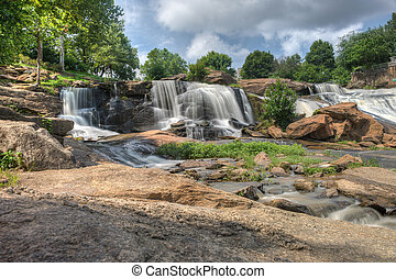 HDR Falls Park on The Reedy River - Long exposure captures ...