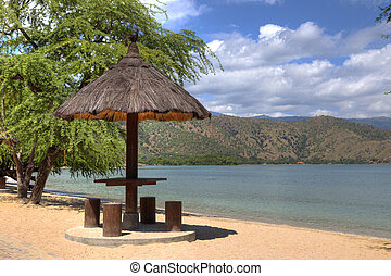 HDR hut on a beach