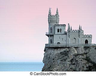 hdr, nido, ocaso, sideview, swallow's, castillo