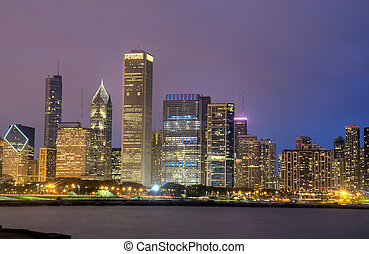 hdr, od, chicago, w nocy