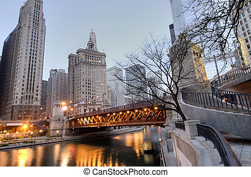 HDR of Downtown Chicago with River