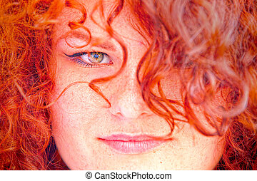 HDR portrait of redhead girl.