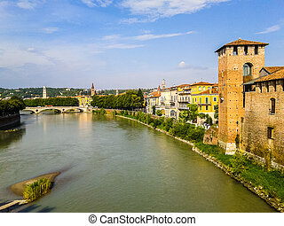 HDR River Adige panorama in Verona