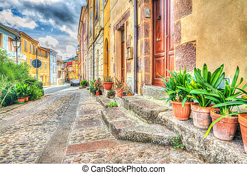 hdr view of Villanova Monteleone on a cloudy day