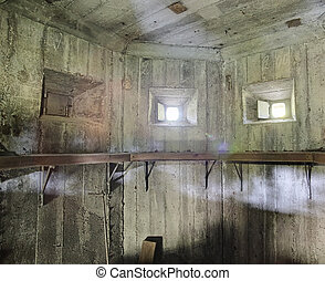 HDR shot of a small room in Fulunaes bunker in Sweden