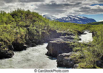 HDR shot of the stream Abiskojakka in Abisko, Norrbotten, Sweden.