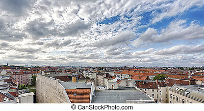 HDR shot: sea of berlin houses with cloudscape