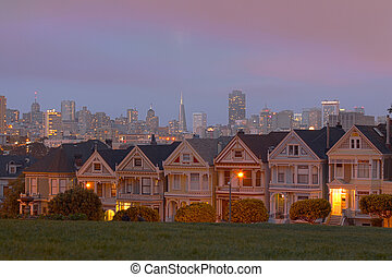 HDR Sunset in Alamo Square