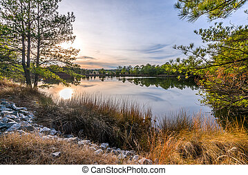 HDR Sunset on Lake - Sunset on a lake in Virginia Beach that...