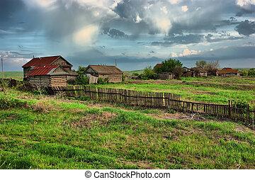 hdr, vieux, vert, ranch, champ