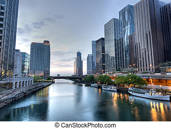 hdr, von, chicago, in, der, früher morgen