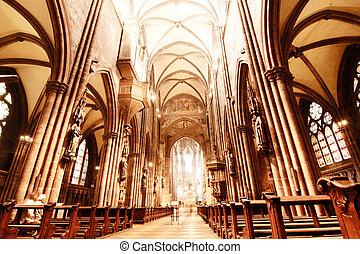 HDRI Photo of the Interior of the Freiburg Muenster in Freiburg im Breisgau, Germany, Europe.