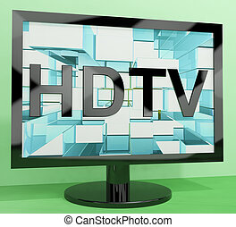 HDTV Monitor Representing High Definition Television Or TVs