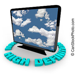 HDTV Television - High Definition - A widescreen HDTV on an...