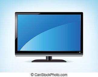 hdtv, widescreen, lcd uppvisar