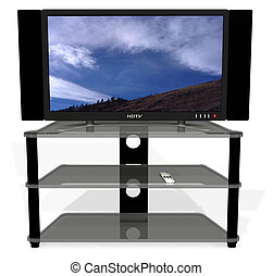 HDTV_Paths - Clean 3D render of archetypal HDTV, stand, and...