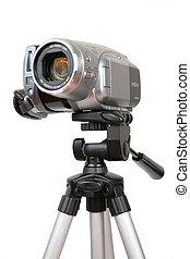 hdv, カメラ, 上に, 三脚