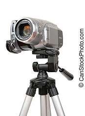 hdv, appareil photo, trépied
