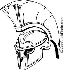hełm, albo, trojański, spartan, grek, ilustracja, rzymski, ...