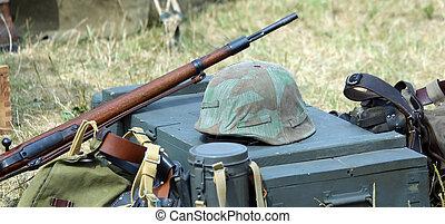 hełm, armia, obóz, jednolity, żołnierz, karabin