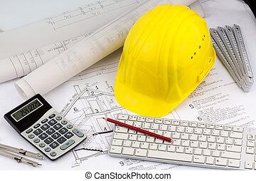 hełm, budowlaniec, plan, dom